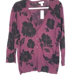 LOFT Floral Print Button Down Cardigan